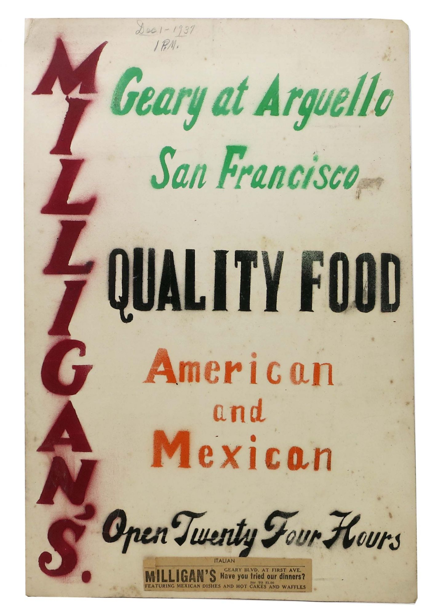 486fd5d546ca MILLIGAN'S QUALITY FOOD.; Geary at Arguello San Francisco, American ...