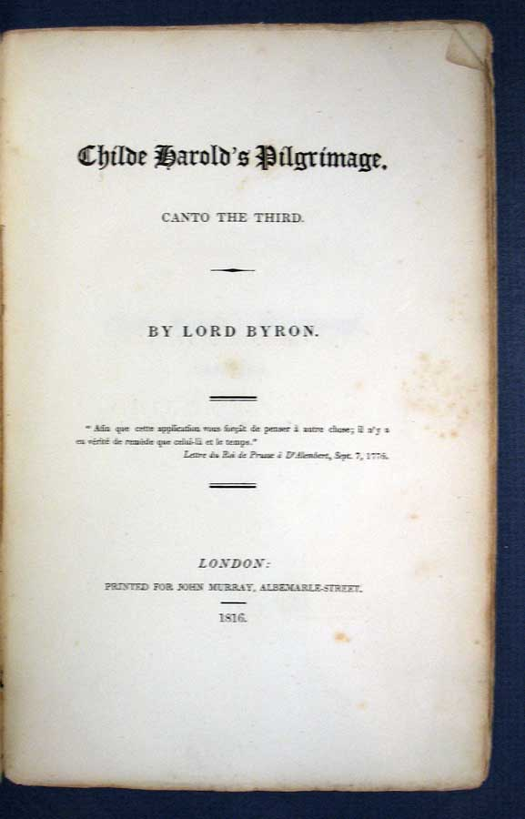 CHILDE HAROLD's PILGRIMAGE: Canto the Third. Lord Byron.