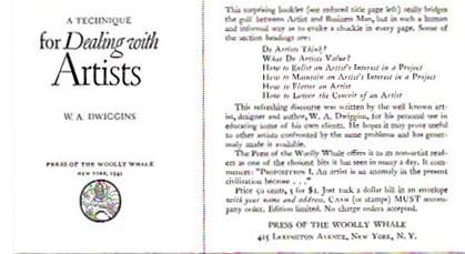 [PROSPECTUS For] 'A Technique for Dealing with Artists'. Press of the Woolly Whale, W. A. Dwiggins, Prospectus.