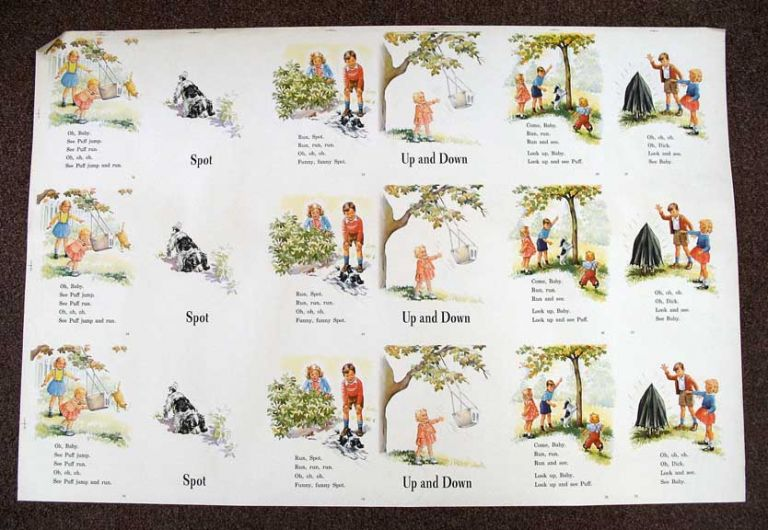 PUFF And DICK. SPOT. UP And DOWN. Uncut Printed Sheet. Children's Reader.