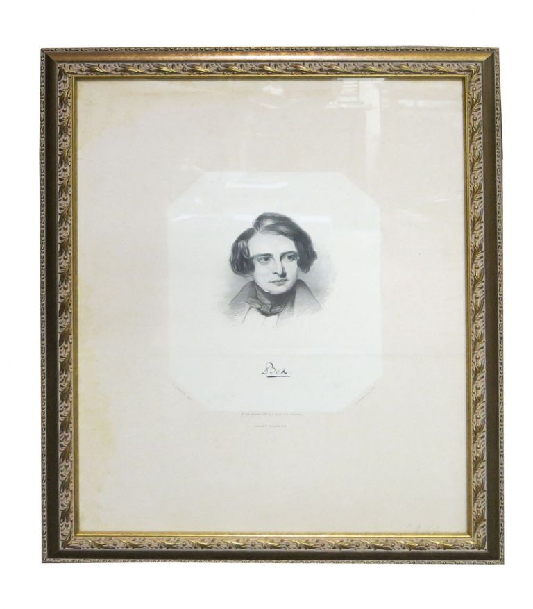 """BOZ"". Lithographed Portrait of Charles Dickens. D. Lawrence, Delt. E. Brown, Jr. Lith. Charles . Currier Dickens, Jr, E., Nathaniel . Brown, 1812 - 1870, 1813 - 1888, 1816 - 1886."
