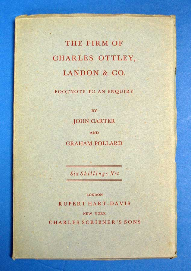 The FIRM Of CHARLES OTTLEY, LANDON & Co. Footnote to an Enquiry. John. Pollard Carter, Graham.