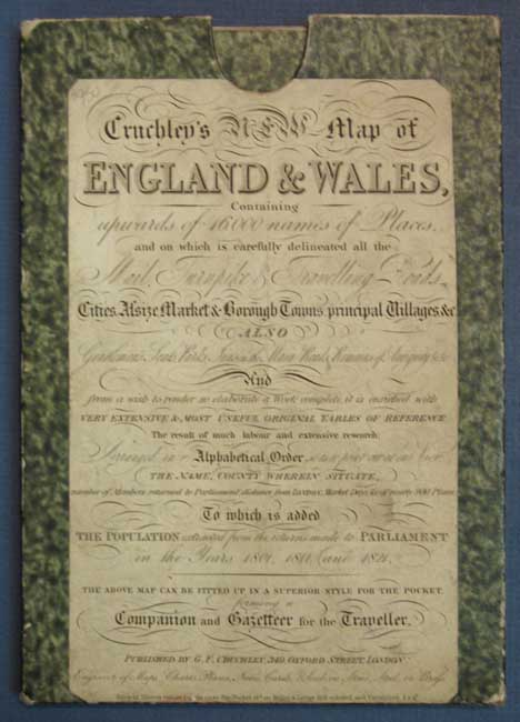 CRUCHLEY'S IMPROVED GEOGRAPHIC COMPANION THROUGHOUT ENGLAND & WALES Including Part of SCOTLAND. England Pocket Map, G. F. Cruchley.