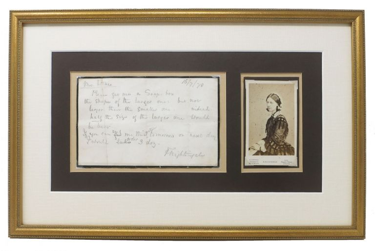 AUTOGRAPH NOTE [ANs], Signed. To Mrs Fulkes. Dated 16 July 1878. [accompanied by ]. Carte - de - Visite [CDV]. Florence Nightingale, 1820 - 1910.