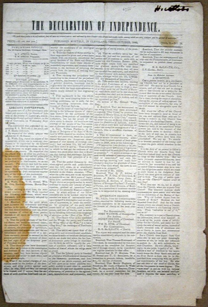 The DECLARATION Of INDEPENDENCE. Published Monthly, in Cleveland, Ohio. October, 1842. Vol I. -- No. 10. Q. F. - Atkins.
