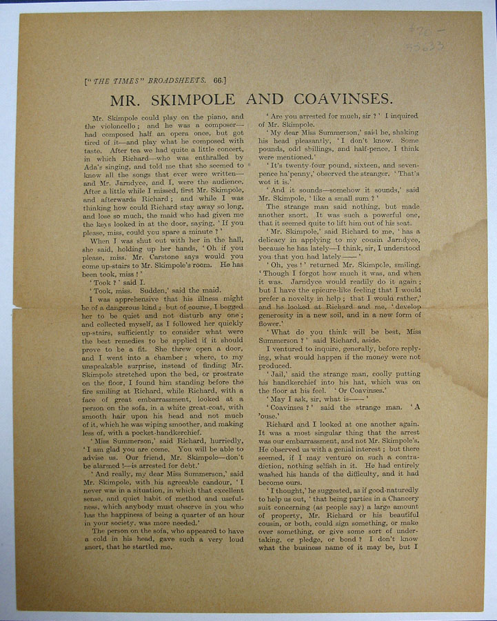 "MR. SKIMPOLE And COAVINSES. ""The Times"" Broadsheets. 66. Charles Dickens, 1812 - 1870."
