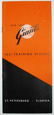 NEW YORK GIANTS 1951 TRAINING SEASON. St. Petersburg - Florida. [Cover title]. Informational / Promotional Brochure.