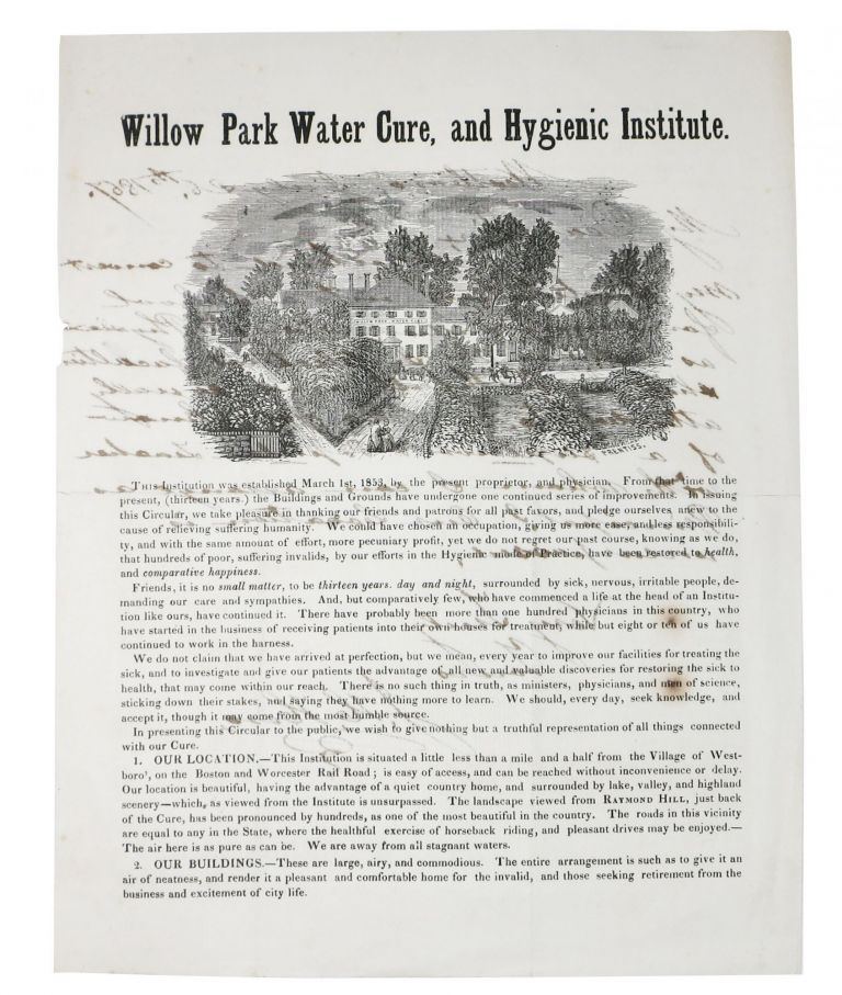 WILLOW PARK WATER CURE, And HYGIENIC INSTITUTE. [Drop title]. . . Hero, M. D., ohn, enry. 1820 - 1898.
