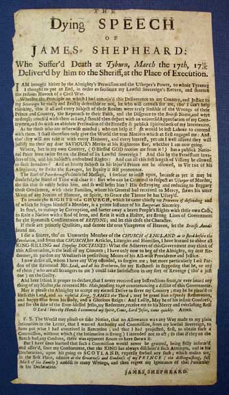 The DYING SPEECH Of JAMES SHEPHEARD: Who Suffer'd Death at Tyburn, March the 17th, 1717/18. Deliver'd by him to the Sheriff, at the Place of Execution. Jacobite Rebellion, James Shepheard, d. 1718.