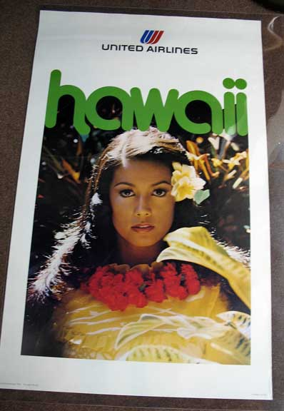 HAWAII. United Airlines. 974-0641-PO782. Airlines Travel Poster.