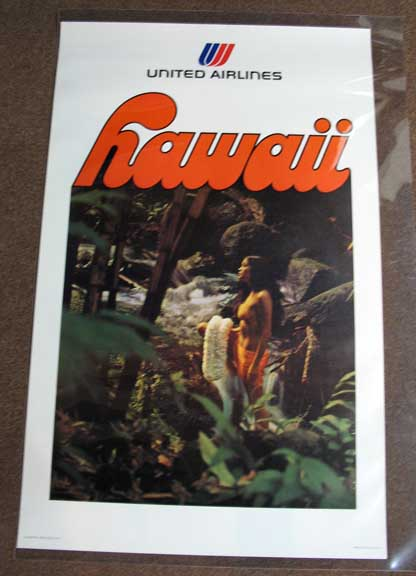 HAWAII. United Airlines. Airlines Travel Poster.