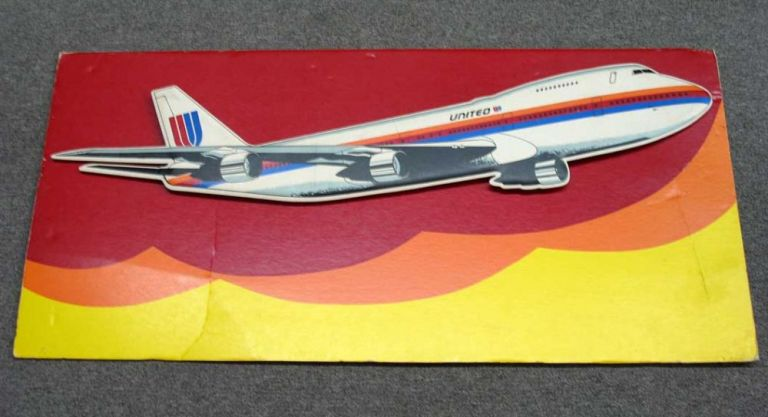 UNITED AIRLINES. 3D Foam Board Promotional Poster for the 747 Aircraft. Airlines Promotional Poster.