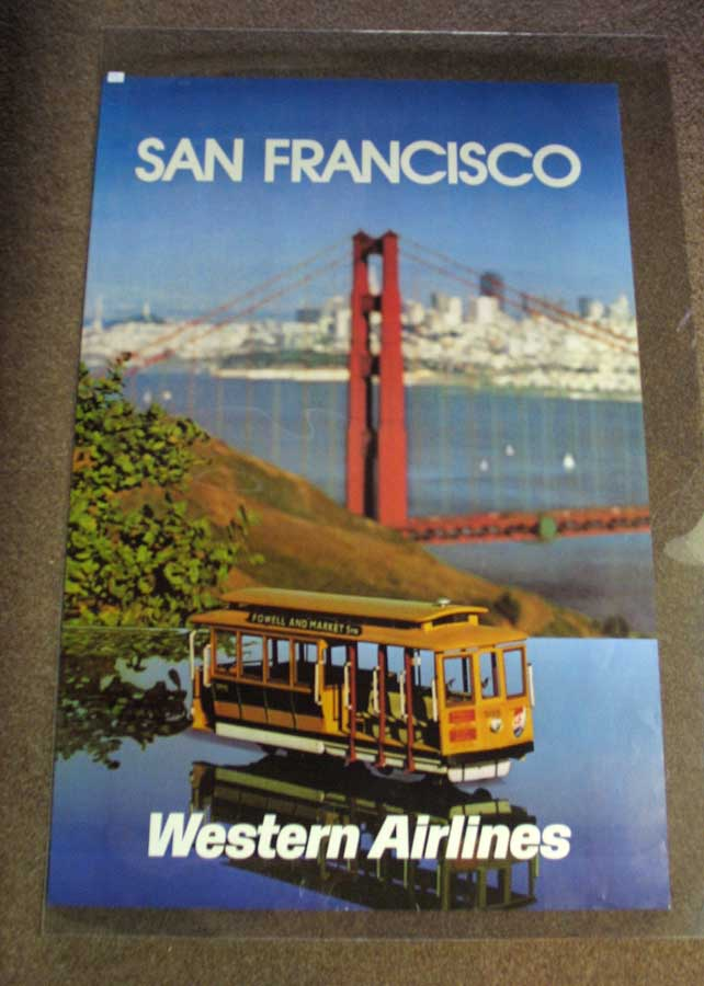 SAN FRANCISCO. Western Airlines. Airlines Travel Poster.