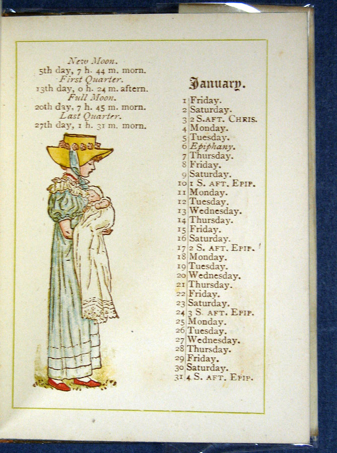 ALMANACK For 1886. Kate Greenaway, 1846 - 1901.