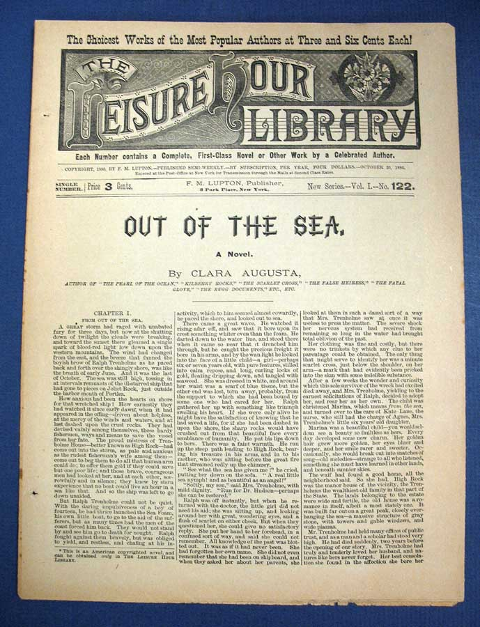 OUT Of The SEA. A Novel. The Leisure Hour Library. New Series. Vol. I. No. 122. October 20, 1886. Clara Augusta, Clara Augusta pseudonym for Jones, Mrs Elbridge S., later Trask.