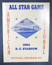 AMERICAN NATIONAL ALL STAR GAME. 1962, D. C. Stadium. Official Program. National Baseball Official Program.