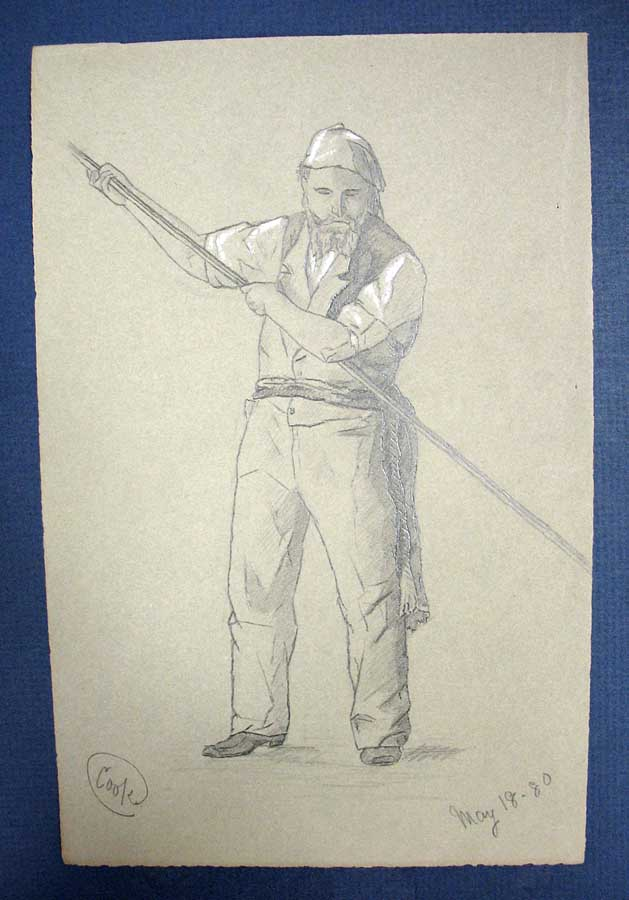 """COOK"" PENCIL SKETCH. May 18 - 80. Louis Alexander Booksin, 1858 - 1948."