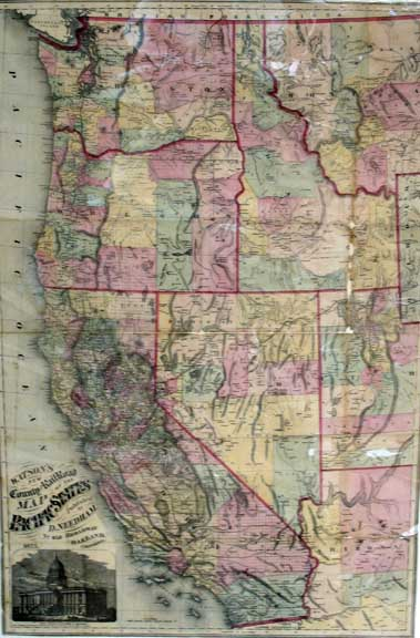 WATSON'S NEW COUNTY RAILROAD MAP Of The PACIFIC STATES. Gaylord Watson.
