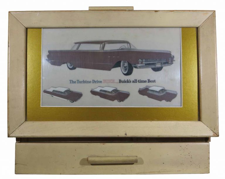 The TURBINE DRIVE BUICK... BUICK'S ALL-TIME BEST. 1960 Dealer's Backlit Showroom Display Case Complete with 33 Transparencies Displaying Interior & Exterior Design Choices and Three Upholstery Sample Catalogues. Buick Dealer's Backlit Showroom Display Case.