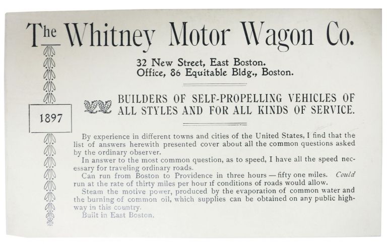 The WHITNEY MOTOR WAGON CO. Builders of Self-Propelling Vehicles of All Styles and for All Kinds of Service. 1897. Automobile Promotional Brochure, George Eli Whitney, 1862 - 1963.