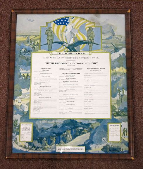 TENTH REGIMENT NEW YORK INFANTRY; Men Who Answered the Nation's Call. Framed 1917 WWI Tenth Regiment NY Infantry Honor Roll Roster, with Handwritten Additions. World War I. Paraphernalia.