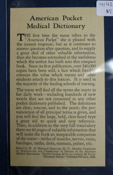AMERICAN POCKET MEDICAL DICTIONARY. Nursing Textbook Advertisement Postcard, W. B. Saunders Company.