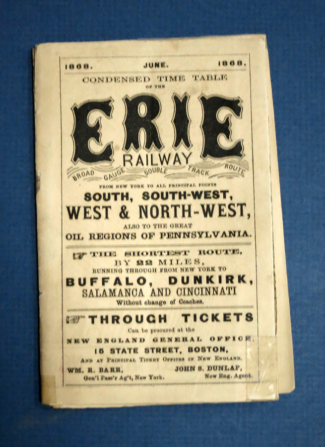 CONDENSED TIME TABLE Of The ERIE RAILWAY. Broad Gauge Double Track Route. From New York to All Principal Points South, South-West, West & North-West, Also to the Great Oil Regions of Pennsylvania. June. 1868. Railway Time Table, Wm. R. - Gen'l Pass'r Ag't Barr, New York.