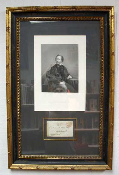 ENGRAVING Of CHARLES DICKENS [plus] SIGNED ENVELOPE to FREDERICK YOUNG. Charles Dickens, 1812 - 1870.