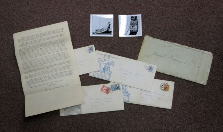 """ARCHIVE Of FOUR TLS LETTERS FROM RICHARD HALLIBURTON'S CHINESE JUNK """"The SEA DRAGON""""; November 1938 to February 1939. Two Photographic Images of the """"Sea Dragon"""" included. Richard Halliburton, Thomas 1900 - 1939. Calderari, Edward Richardson, - Recipient."""