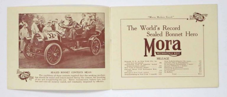 MORA. Mechanically Right. Automobile Advertising Promotional Booklet, Samuel H. - Found Mora.