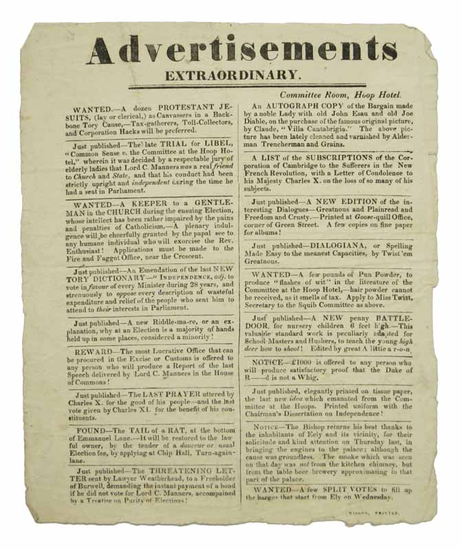ADVERTISEMENTS EXTRAORDINARY. Political Satire, Lord C. Manners, Charles X. - Named Individuals.