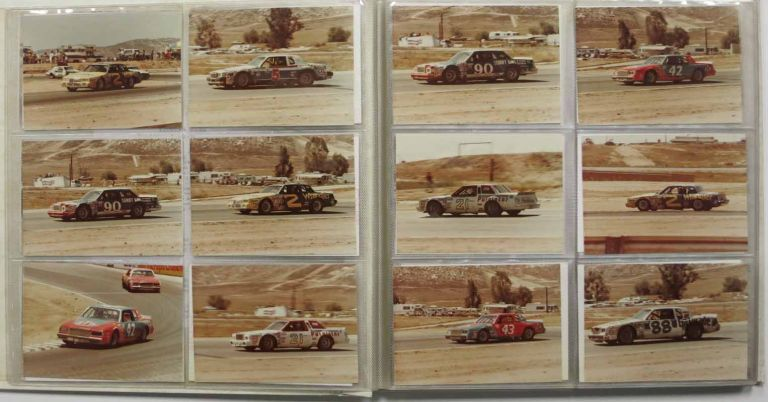 NASCAR WINSTON CUP STOCK CAR RACE - 1981 [accompanied by] GRAND PRIX WEST FORMULA ONE - 1981. Photograph Album, Mario Andretti, Johnny Rutherford, Jan Lammers, Rene - Pictured race Arnoux, s, b. 1940, b. 1938, b. 1956, b. 1948.
