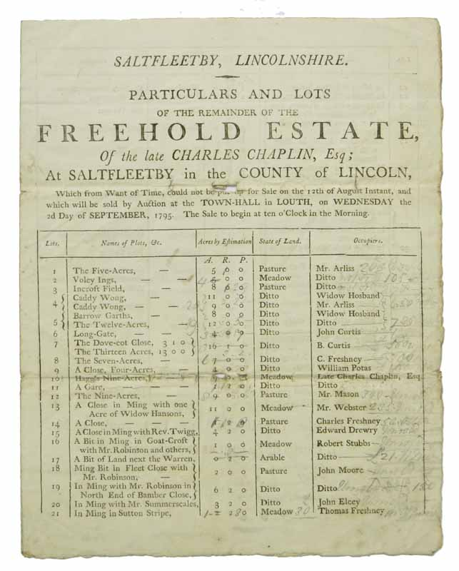 PARTICULARS And LOTS Of The REMAINDER Of The FREEHOLD ESTATE, Of The Late CHARLES CHAPLIN, ESQ.; At Saltfleetby in the County of Lincoln, Which from Want of Time, could not be put up for Sale on the 12th August Instant, and which will be sold by Auction at the Town-Hall in Louth, on Wednesday the 2d Day of September, 1795. the Sale to begin at ten o'Clock in the Morning. England / 18th Century, Charles Chaplin, 1730 - 1795?