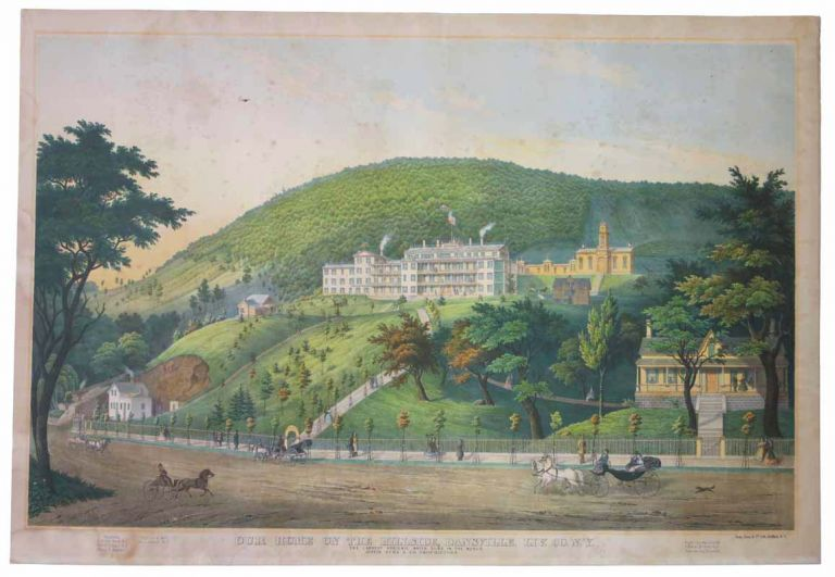 OUR HOME On The HILLSIDE, LIV. CO. N. Y. The Largest Hygienic Water Cure in the World. Austin, Herd & Co., Proprietors. [Hand-colored Llithographic Print]. Dansville Sanatorium / New York / Medical, Unknown artist.