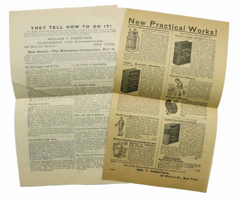 THEY TELL HOW TO DO IT! / NEW PRACTICAL WORKS! William T. Comstock, Publisher and Bookseller. 23 Warren Street, New York. Promotional Literature.