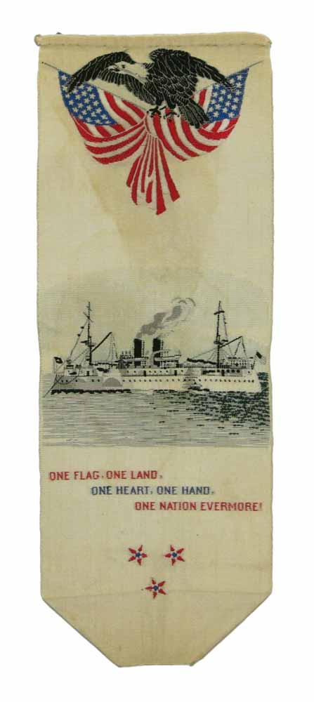 """PATRIOTIC SILK RIBBON. """"One Flag, One Land, One Heart, One Hand, One Nation Evermore!"""" Spanish American War."""