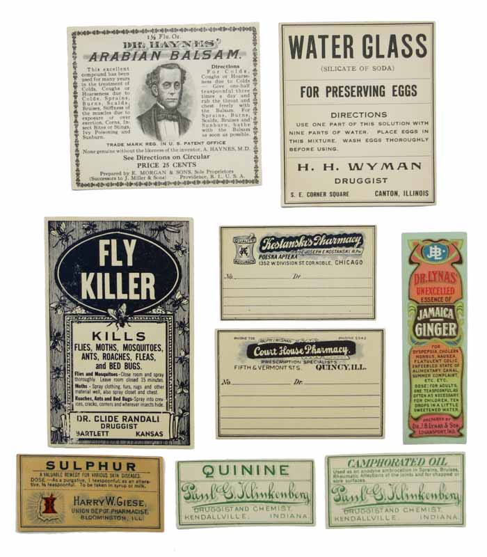LOT Of EIGHT DRUGGIST / PHARMACY LABELS. Pharmacy / Patent Medicine.