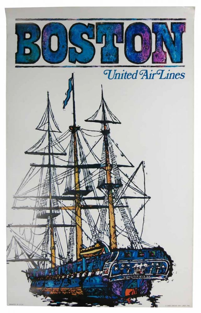 BOSTON. United Air Lines. Airlines Travel Poster.