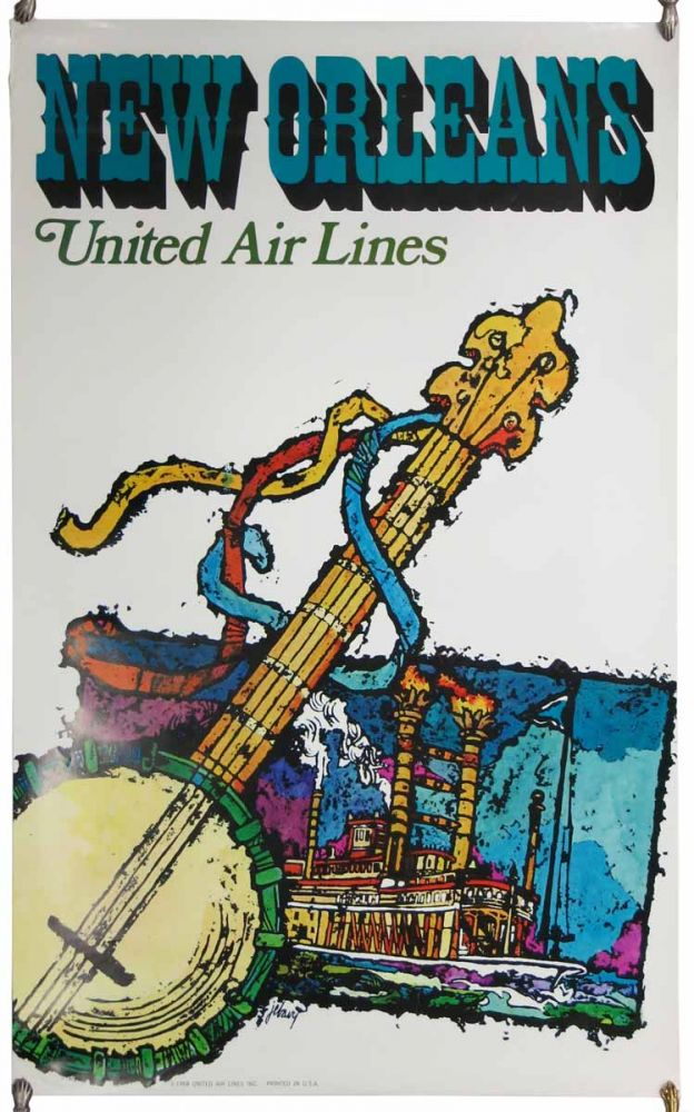 NEW ORLEANS. United Air Lines. Airlines Travel Poster.