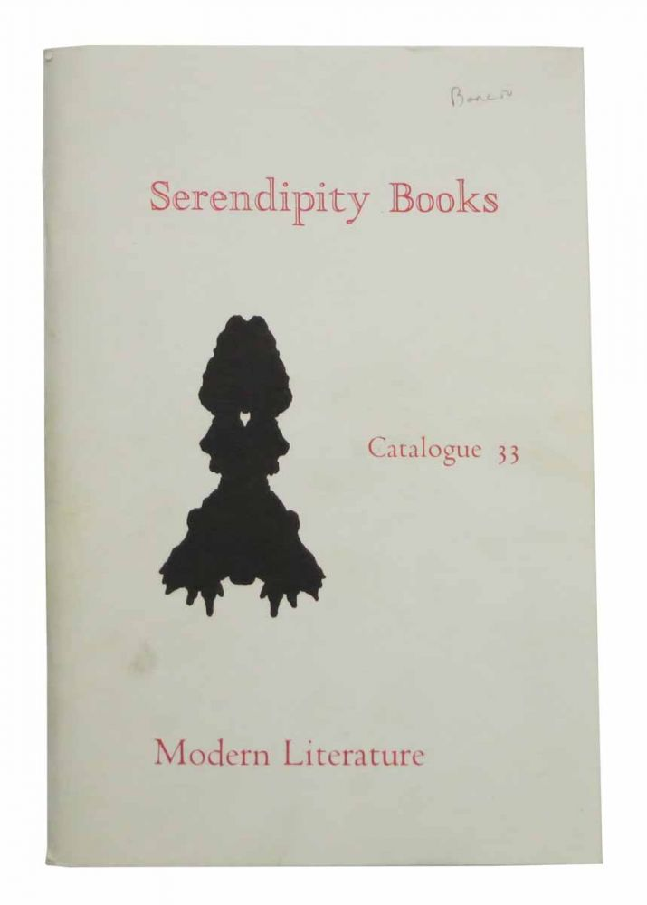 SERENDIPITY BOOKS. Catalogue 33. Modern Literature. Bookseller Catalogue, Peter B. Howard.