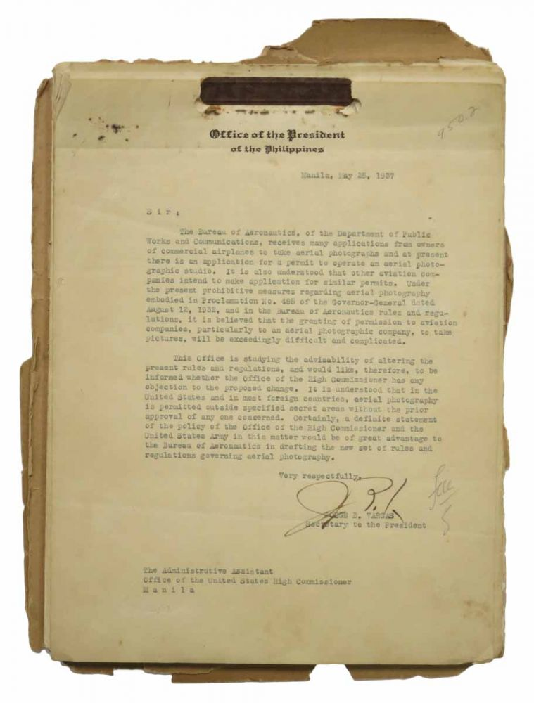ARCHIVE of CORRESPONDENCE Between The COMMONWEALTH Of The PHILIPPINES And OFFICERS Of The U. S. HIGH COMMISSIONER of the Philippines. Primarily Concerning Aerial Photography. 1937 - 1940. Commonwealth of the Philippines / pre WWII, Jorge - Executive Secretary. Holbrook Vargas, . H. - Acting Chief of Staff, . - Major General. DeArmond, 1890 - 1980 artolome, ucius, 1875 - 1952 oy, dward.