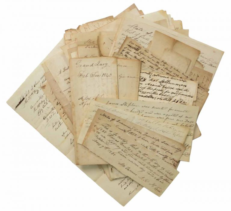 LOT Of ~100 JACKSON CIRCUIT COURT MS LEGAL DOCUMENTS, 1823 - 1841. Law / Indiana.