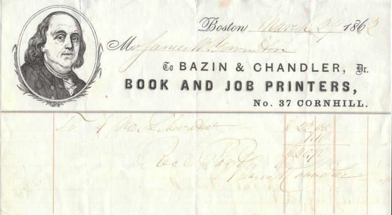 [BILLHEAD FROM BAZIN & CHANDLER BOOK AND JOB PRINTERS]. Receipt / Billhead.