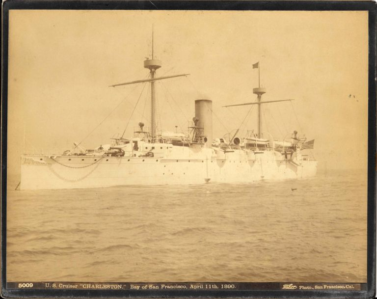 "PHOTOGRAPH OF U. S. CRUISER ""CHARLESTON."" BAY OF SAN FRANCISCO, APRIL 11TH, 1890.; 5009. Taber Photo - San Francisco."