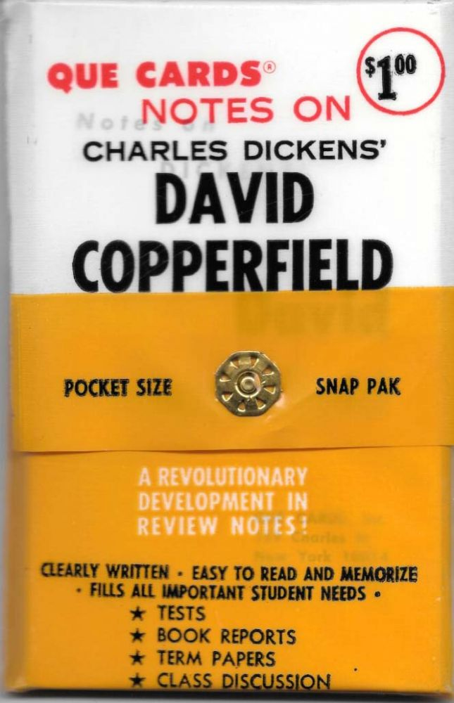 NOTES ON CHARLES DICKENS' DAVID COPPERFIELD.; Pocket Size. Snap Pak. A Revolutionary Development in Review Notes! Charles Que Cards - Dickens.