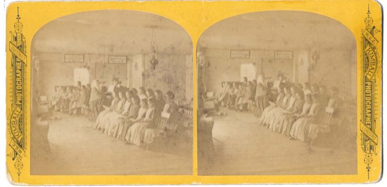 MUSIC LESSON AT ENFIELD, NH SHAKER VILLAGE. Stereoview - Shakers, W. G. C. Kimball.