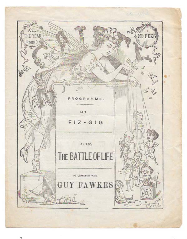 THE GAIETY PROGRAMME: AT 7 FIZ - GIG. AT 7:30 THE BATTLE OF LIFE.; To Conclude With Guy Fawkes. Theatre Playbill, Charles. . Hollingshead Dickens, John - Sole Lessee and Manager, 1812 - 1870.