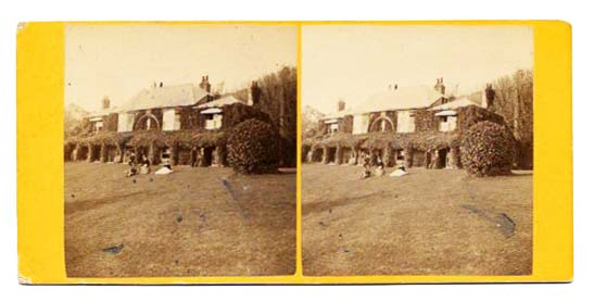 UNTITLED. 19th C. Albumen Photograph of a Manor Home with 6 Individuals in Fore-ground. Stereoview Photograph.