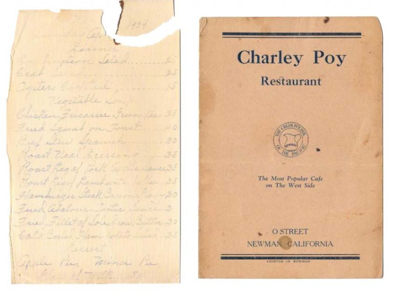 CHARLEY POY RESTAURANT.; The Most Popular Cafe on the West Side. Restaurant Menu - Newman.