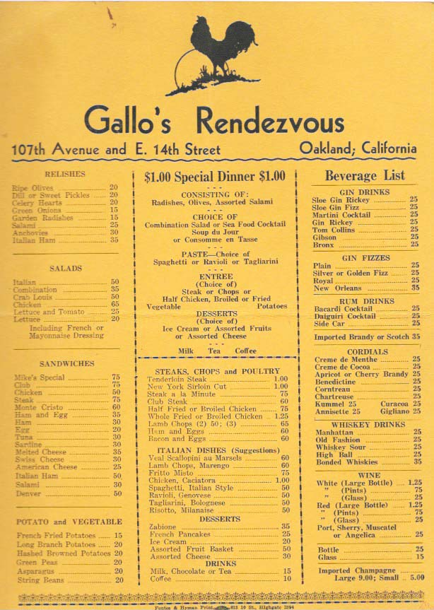 GALLO'S RENDEZVOUS.; 107th Avenue and E. 14th Oakland, California. Restaurant Menu - Oakland.